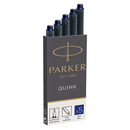Parker 1950384 Quink Nachfüllpatronen für Füllfederhalter, lange Patronen, 5er Packung, blaue tinte