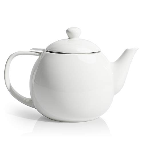 Sweese 221101 Teapot Porcelain Tea Pot with Stainless Steel Infuser Blooming amp Loose Leaf Teapot  27 ounce White