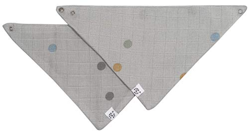 Kindsgut Musselin Halstücher aus OEKO-TEX®-zertifizierter Baumwolle, für Babys und Klein-Kinder, 2er-Set mit Druckknöpfen, einfach zu verschließen, schlichtes Design und dezente Farben, Punkte