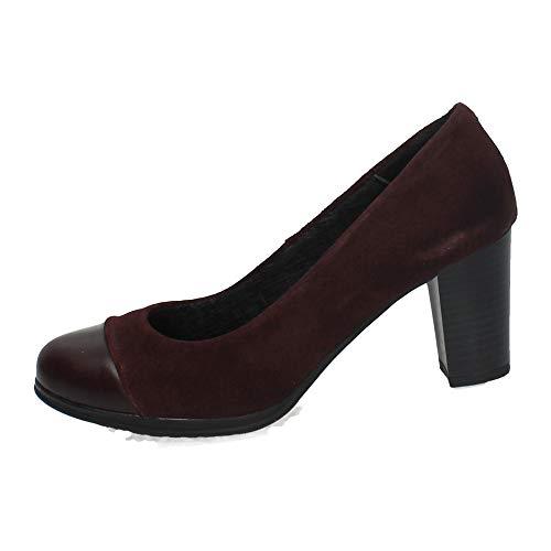 MADE IN SPAIN 1425 Salones Piel Burdeos Mujer Zapatos TACÓN Burdeos 37