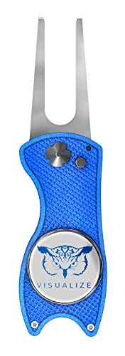 VISUALIZE Talon Premium All-Metal Switchblade - Style Divot Repair Tool - Add to Your Favorite Golf Accessories - Divot Tool with Silicone Owl Ball Marker - 3-in-1 Multi Tool (Blue)