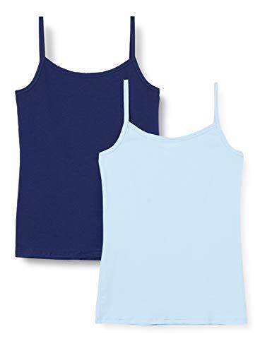 Schiesser Mädchen Multipack 2 Pack Spaghettitops Unterhemd, Mehrfarbig (Sortiert 1), 140 (2er Pack)