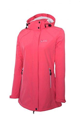 Dry Fashion Damen Softshell Mantel Sylt Regenmantel Parka Funktionsmantel Kapuze, Farbe:Coral, Größe:40
