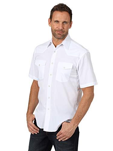 Wrangler Men's Sport Western Basic Two Pocket Short Sleeve Snap Shirt, White, Large