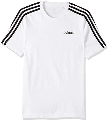 Adidas Essentials 3 Stripes T-Shirt, Maglietta Uomo, Bianco (White/Black), S