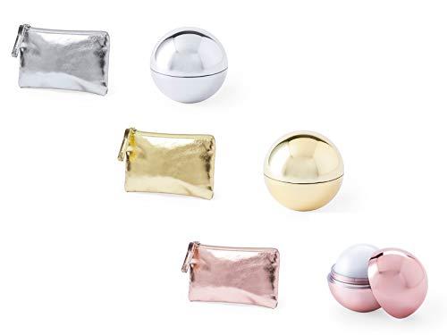 DISOK - Lote de 30 Monederos Metalizados + 30 Bálsamos labiales, surtido en colores. Lip gloss boda. detalles originales boda, monederos colour.