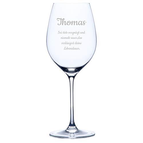 Personello® Weinglas mit Gravur (Motiv Glückwunsch), Rotweinglas mit Name und Spruch graviert (personalisiert), Geschenk für Männer, Frauen (Weintrinker) zum Geburtstag oder Weihnachten