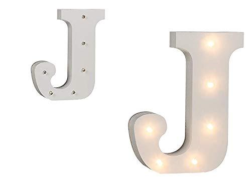Invero - Letras decorativas LED iluminadas de la A a la Z de madera, números y símbolos de color blanco, ideal para cumpleaños, bodas, fiestas, bares, dormitorios y decoración interior