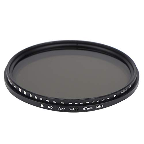 Bindpo Filtro ND de 67 mm, Filtro de Densidad Neutra de Vidrio óptico Ajustable de ND2 a ND400, Accesorio de Lente Universal para Canon para Nikon para Sony para Fujifilm para Olympus