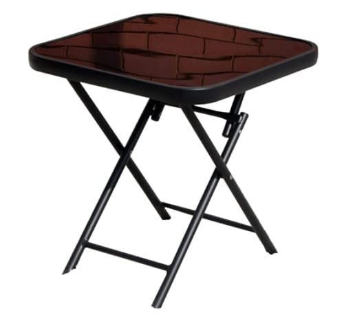 Marco Paul Glass Folding End Table Top Small Side Garden Patio Drinks Home Indoor Outdoor Furniture Bistro Occasional Portable Dining Table