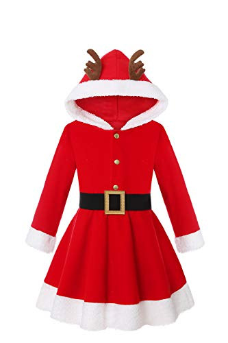 Getyothtop Girls Christmas Santa Claus Costume Long Sleeves Hood Red Dress for ToddlersLittle Girls Xmas Party Holiday Suit (Red, 5-6 Years)