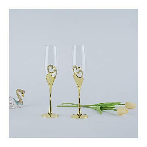 JIANGUO Copas de Vino 2pcs / Set Gold Wedding Champagne Toasting Toasting...