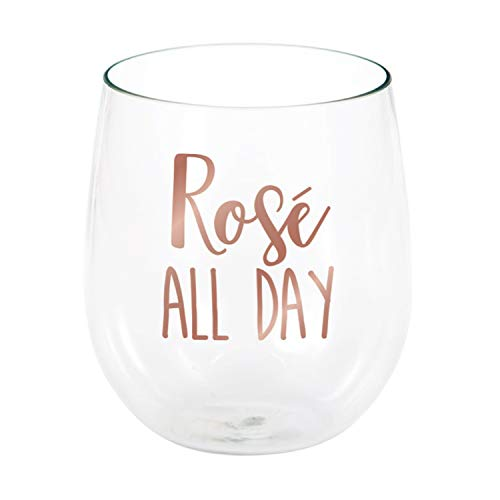 Rosé All Day Plastic Stemless Wine Glasses, 6 ct