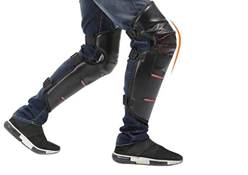 Winter Water Resistant Leather Windproof Knee Leg Sleeves Motorcycle Cycling Wrap Plush Thermal Knee Pad Protector Outdoor Sports Ski Snowboarding Winter Cycling Knee Warmer