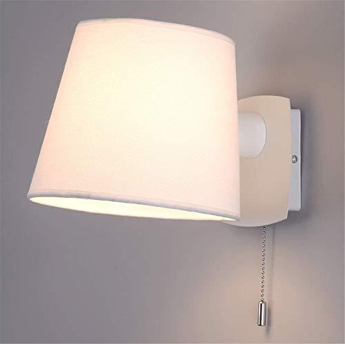 DINGYGJ Lámpara de pared moderna de estilo simple for hotel Sombrilla de tela blanca giratoria ajustable con interruptor de extracción Iluminación interior for sala de estar Dormitorio Corredor Apliqu