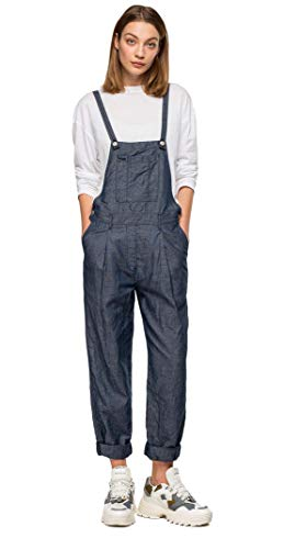 Replay W1036.000.180.Z15 Latzhose mit Denim Effekt, Blau, Blau Medium