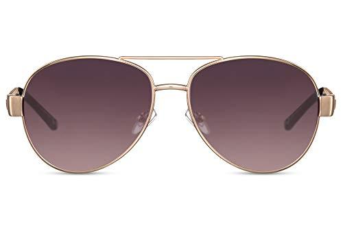 Cheapass Gafas de Sol Metálicas Doradas Piloto con Gradual Lentes y Negras Piel Patillas Protección UV400 Mujeres