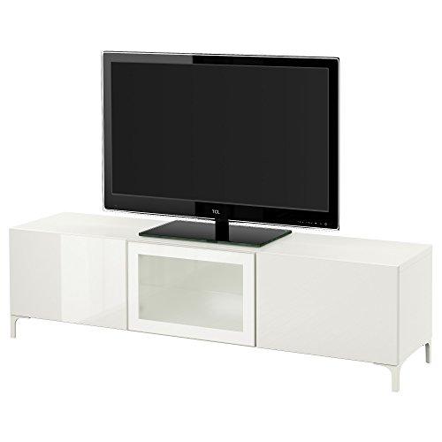 IKEA BESTA–TV Bank mit Schubladen und Tür weiß/selsviken Hochglanz/Glas weiß satiniert
