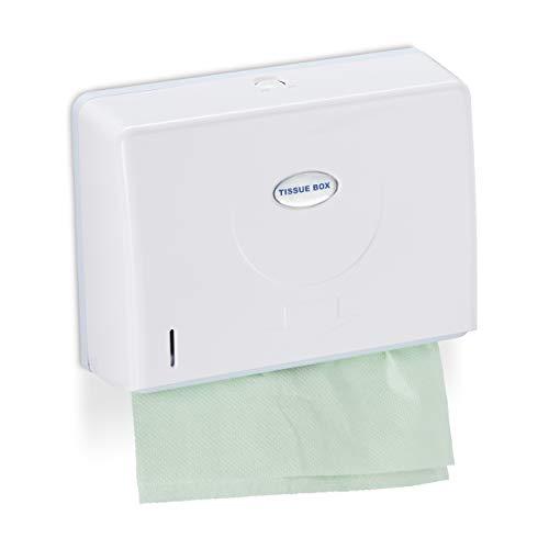 Relaxdays Papierhandtuchspender, Wandmontage, für H2 Papierhandtücher, Handtuchspender HxBxT 20,5 x 27,5 x 10 cm, weiß