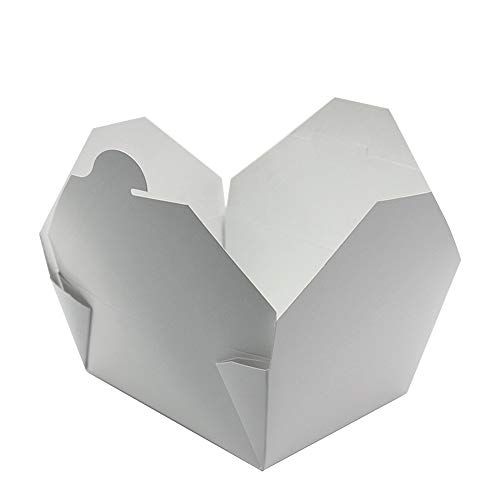 Disposable White Paper Box To Go Containers - 25 Biodegradable Hot and Cold Take Out Food Containers - 15 x 12 x 6.5 cm - Leak Proof Design for Lunch On the Go, Party Leftovers, and Gift Boxes
