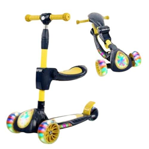 Scooter Infantil Puede Plegable Scooter con luz y música,Yellow