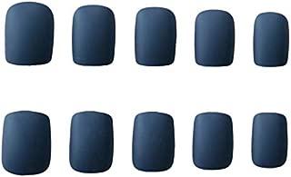 JINDIN 24 Sheet Short Matte Fake Nails with Design Square Blue False Nail Full Cover Acrylic Press On Nails for Women
