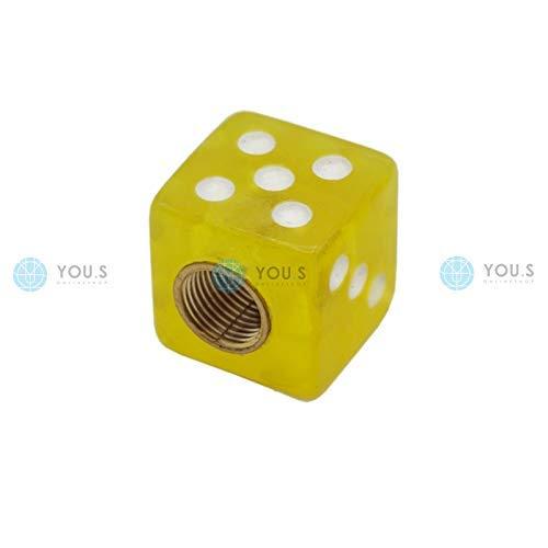 YOU.S Kunststoff Ventilkappe Würfel Gelb mit Dichtung Ventil Kappe Abdeckung für Auto PKW LKW Motorrad Fahrrad (1 Stück)