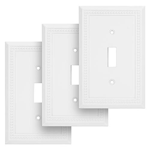 Sunken Pearls Decorative Wall Plate Switch Plate Outlet Cover, Durable Solid Zinc Alloy (Single Toggle, 3 Pack, White)