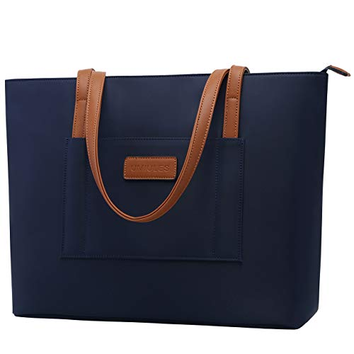 UMIULES Laptop-Tote-Bag,15-15.6 Inch Nylon Laptop-Bag-for-Women Water-resistant Work-Bag Multi-pockets School-Bag Professional Briefcase with Padded Sleeve for Business Women Teacher Students,navy