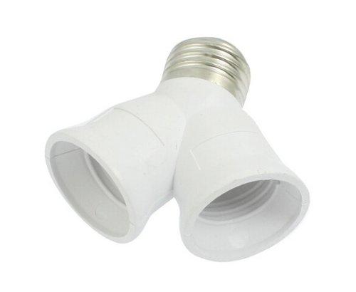 TOOGOO(R) E27 to E27 Light Lamp Bulb Socket 2 Splitter Converter للبيع