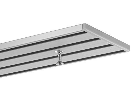 Gardineum 3.00 m Gardinenstange, alle Längen bis 4,60 m möglich, Vorhangschiene, Aluminium, alu-Silber, 3-läufig vorgebohrt