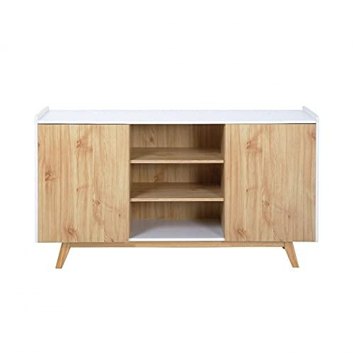 KYEEY Aparador blanco 140 x 40 x 80 cm, apto para el hogar, sala de estar, cocina