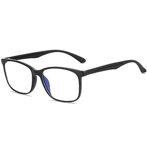 Gimdumasa Gafas para Ordenador Anti luz Azul Antifatiga Sin Graduacion Gafas Luz Azul para PC Gaming Lectura Video Juegos Lentes Transparente Hombre Mujer (2303 Negro)