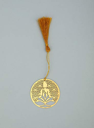 ADORAA's Jaali Buddha Golden Brass Metal Bookmark with Golden Tassel - Perfect Gift for Friends & Family