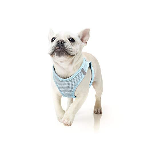 HEELE Hundegeschirr Hunde Welpe Hundegeschirr Anti Zug Atmungsaktiv Brustgeschirr No Pull Sicherheitsgeschirr Reflektierend Einstellbar Weich für Mittlere Kleine Hunde Gehen Laufen Training, Blue, L
