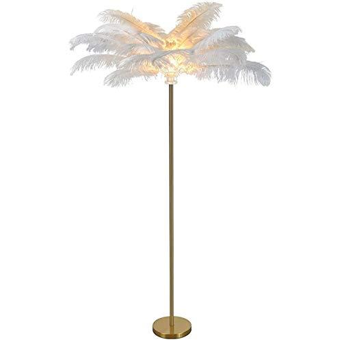 DANYIN Feder-Stehlampe, 1,55 M Hoch Nordic Weiß Natürliche Strauß Haar Stehen Lampe, Metall Galvani und Rundboden, Wohnzimmer Schlafzimmer Büro-Halle