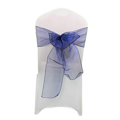 Poda Shoporganza Cintos Cubierta para Silla Color Surtido Fuller Lazo Cinta para Boda, Banquete, Cumpleaños, Evento Decoración, 17cm x 280cm - Azul marino, 50pcs