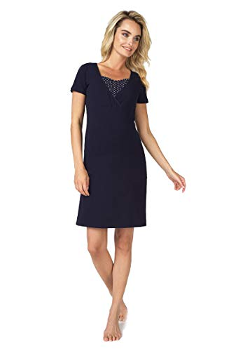 Noppies Still-Nachthemd Damen Umstandsmode Nachtwäsche 66610 (S, Navy (Dark Blue))