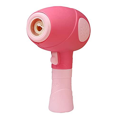Máquina De Burbujas para Niños De Verano, Máquina De Burbujas con Forma De Secador De Pelo, Juguetes Automáticos para Hacer Burbujas con Carga USB, Regalo del Día De Los Niños,Rosado