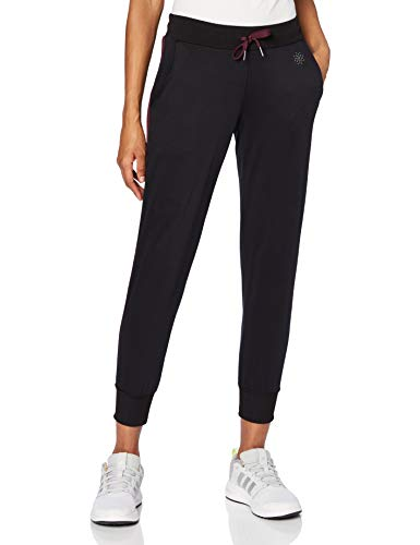 Amazon-Marke: AURIQUE Damen Jogginghose verkürzt mit Seitenstreifen, Schwarz (Black/Port Royale), 34, Label:XS