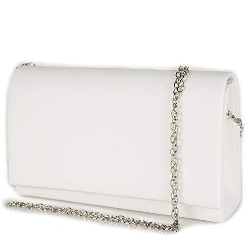 Borsetta bianca cerimonia elegante clutch bag a busta pochette da donna sera borsa piccola a mano borsetta con tracolla catena matrimonio comunioni primavera estate 2021 Ecopelle Bianco