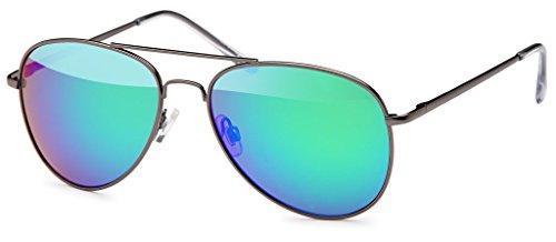 Herren Pilotenbrille Verspiegelt | Damen Sonnenbrille | Unisex Brille mit Federschrnier | UV400 Schutz Filter Kat. 3 CE (72 | Rahmen Schwarz - Glas Grün verspiegelt)