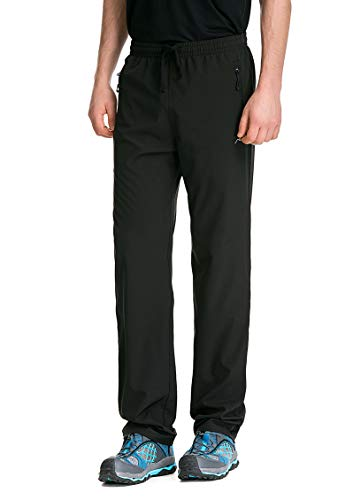TRAILSIDE SUPPLY CO. Mens Workout Athletic Pants for Sports Gym Travel - Stretchy,Breathable, Black, L (30L)