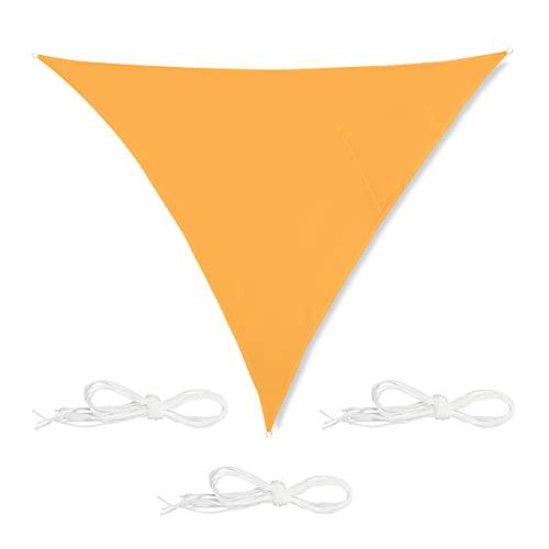 Relaxdays Toldo Vela Triangular, 4 x 4 x 4 m, Repelente al Agua, Anti-UV, con Cuerdas, Sombra, Parasol Jardín, Amarillo