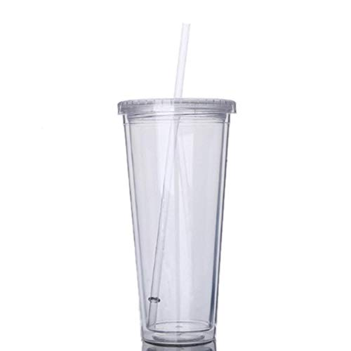 Lodenlli Vaso de Paja de Mano de plástico de Doble Capa Anti-Quemaduras Acrílico Apto para lavavajillas de Doble Pared Versátil