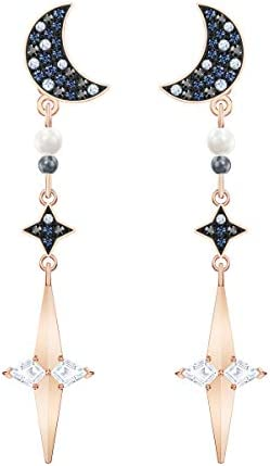 SWAROVSKI Symbolic Collection Women s Moon Earring Jackets with Blue Crystal Pav Moon Studs product image