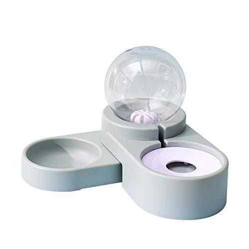 Tazón de llenado automático de Burbujas Tazón Doble Bebedero para Mascotas Agua Potable para Gatos Tazón de Comida Dispensador de Agua automático 2 en 1 (Azul)