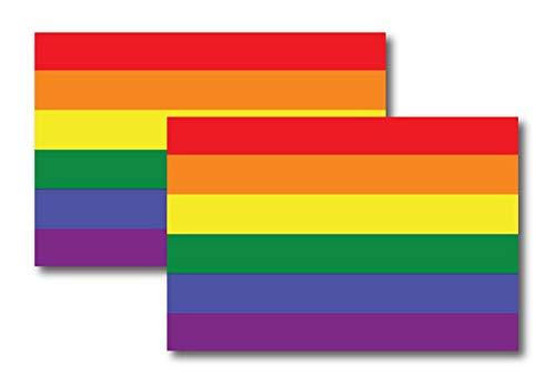 Gay Pride Rainbow Flag Car Magnet Decals - LGBT, 2 Pack 4x6 Magnets- Waterproof Lesbian Gay Bisexual Transexual