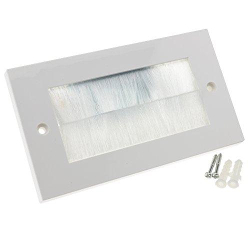 Blanco Cepillo Placa Frontal Para Cable Exit/Wall Salida UK Doble Grupo Blanco [White Double]