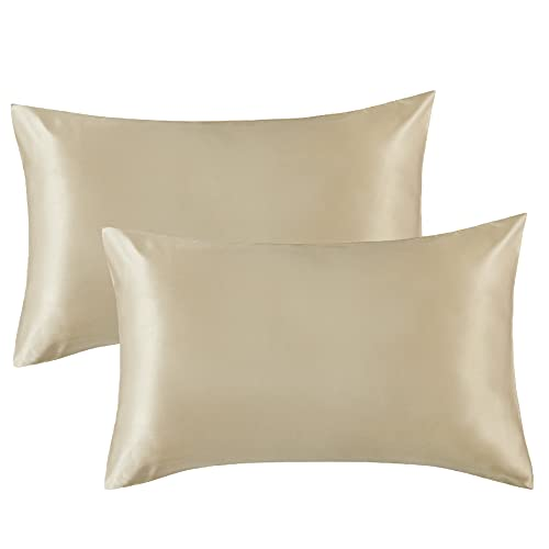 Bedsure Satin Pillowcase for Hair and Skin Queen - Taupe Silk Pillowcase 2 Pack 20x30 inches - Satin Pillow Cases Set of 2 with Envelope Closure